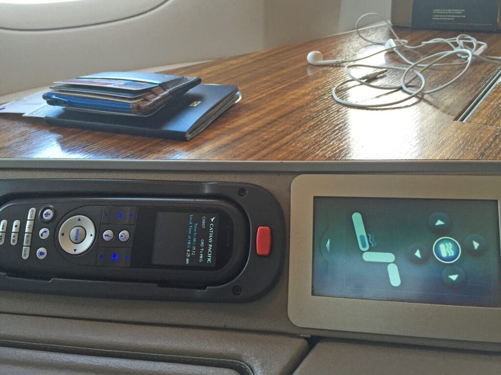 cathay pacific first class seat control