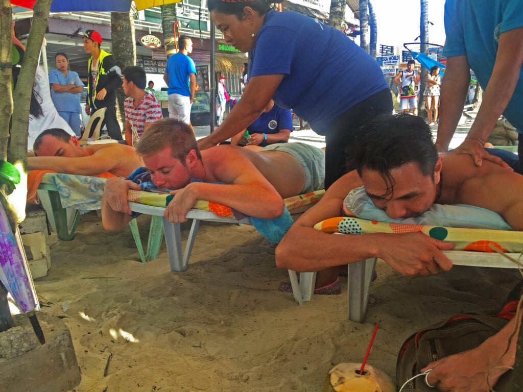 massage on the beach boracay philippines