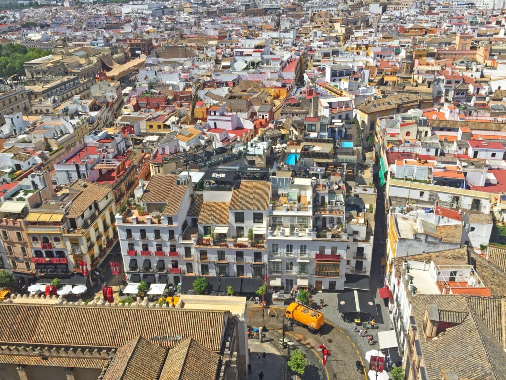 giralda tower view from the top seville spain