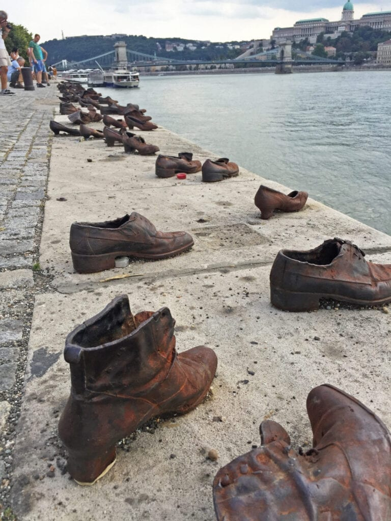Shoes on the danube bank budapest hungary