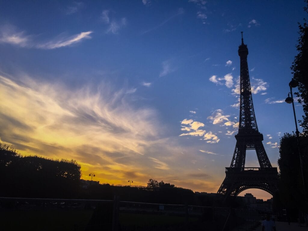 eiffel tower at dusk in paris france
