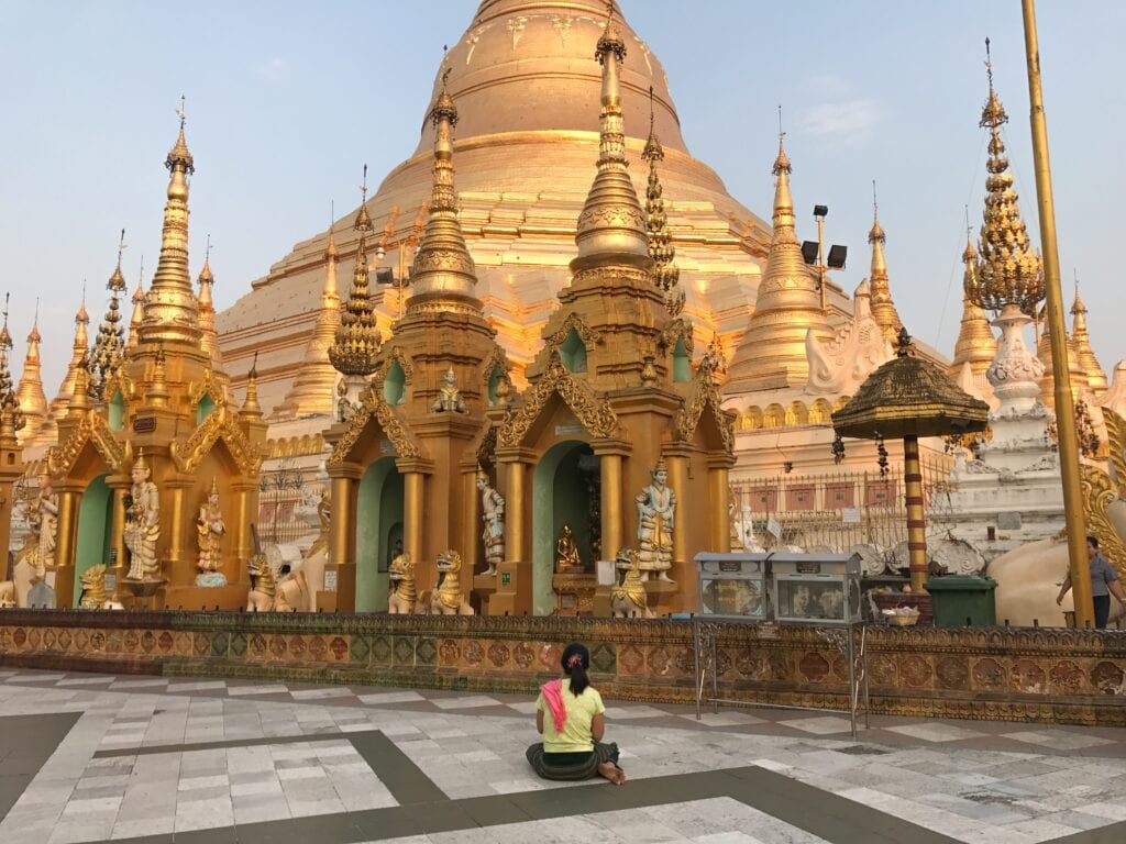 Morning prayer at the Shwedagon Pagoda
