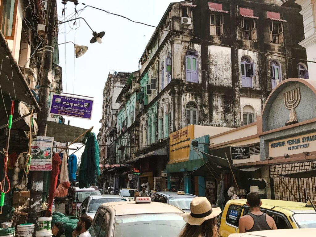 Street views of downtown Yangon, Myanmar