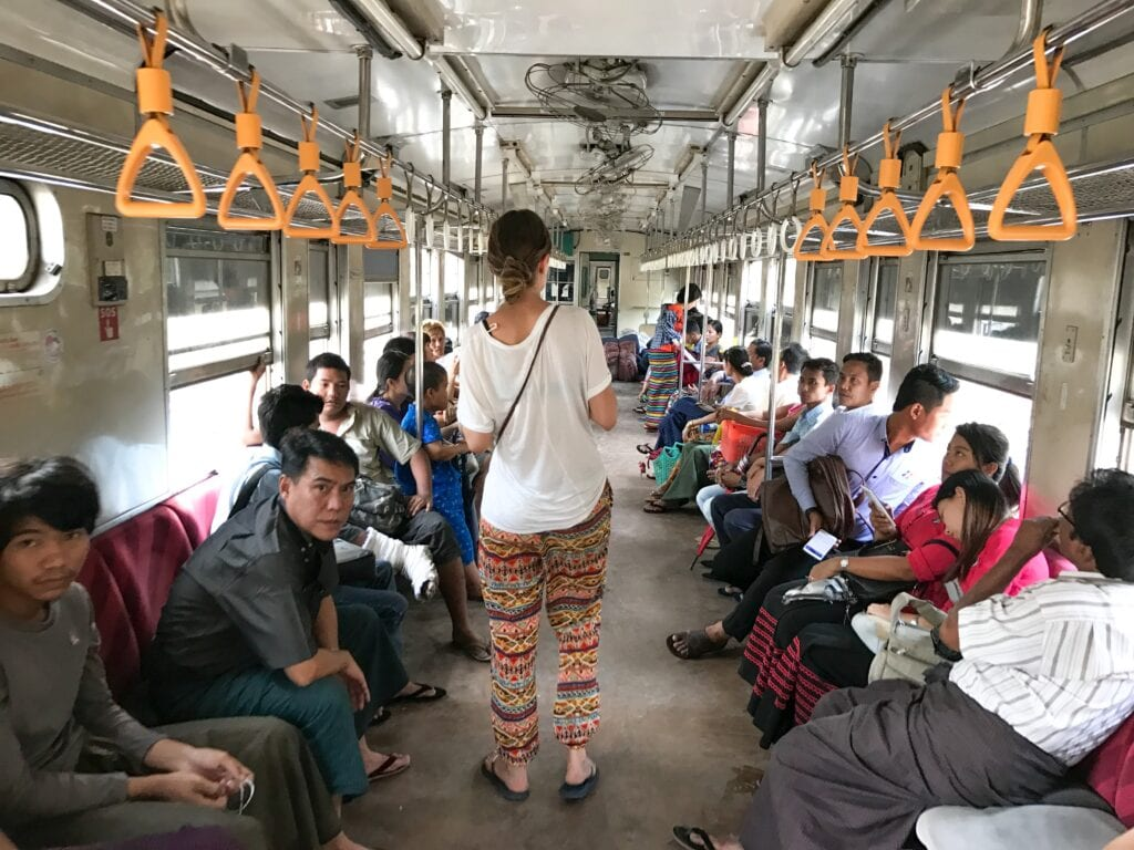 Inside the local train in Yangon, Myanmar