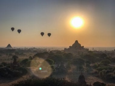 Hot air balloon over Bagan Myanmar