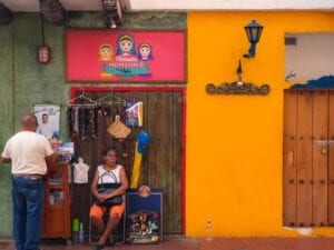 Bright colored walls of Cartagena