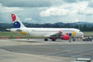vivacolombia aircraft in medellin airport