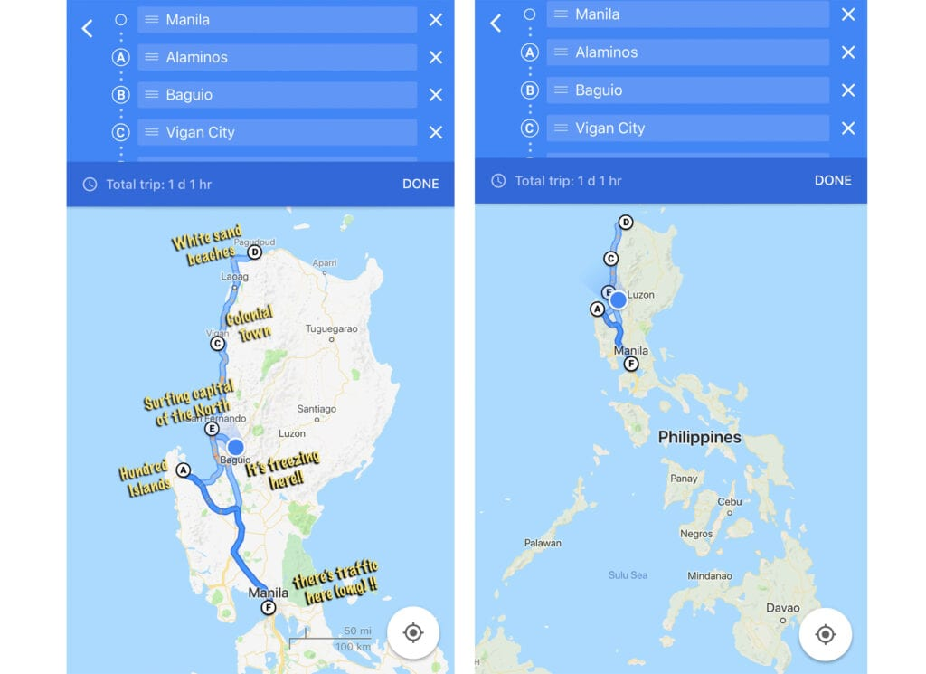 luzon map philippines bus route