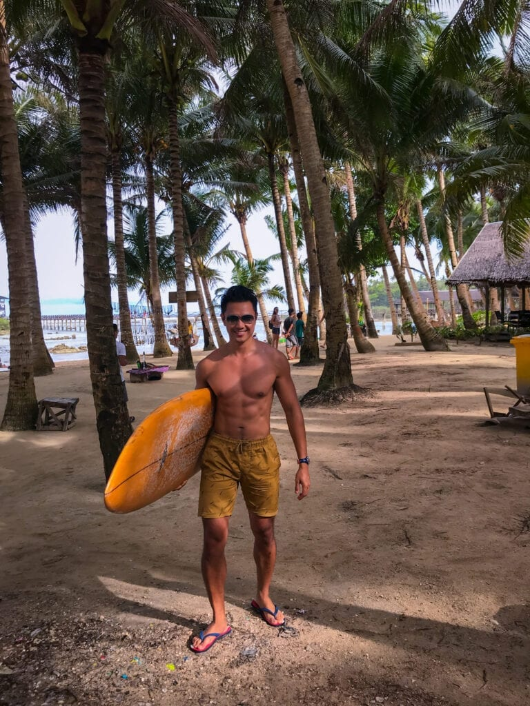 surfing in cloud 9 siargao island philippines