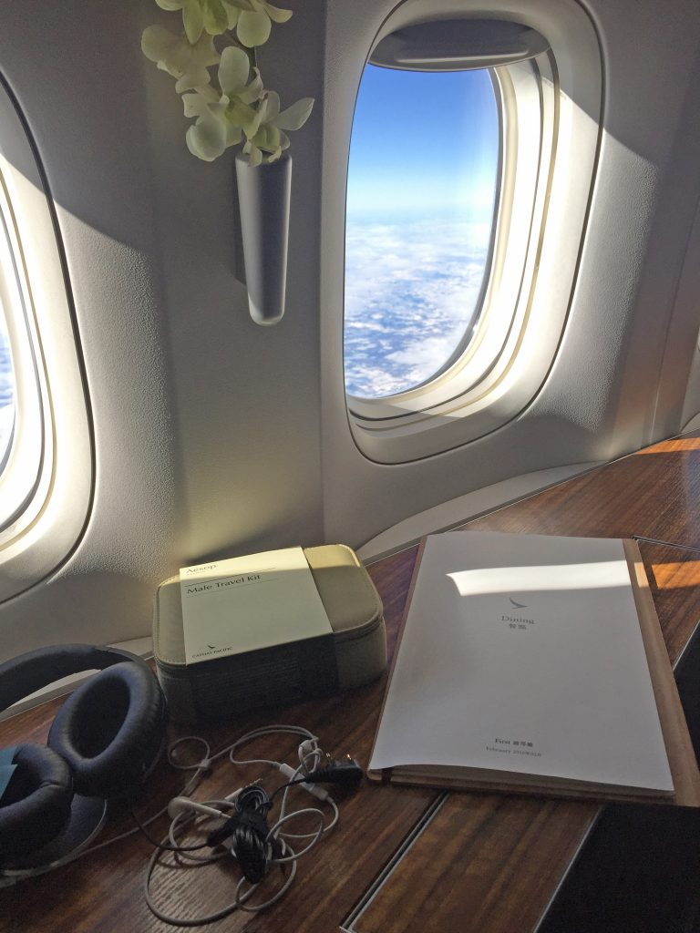 Amenity kits at Cathay Pacific on first class