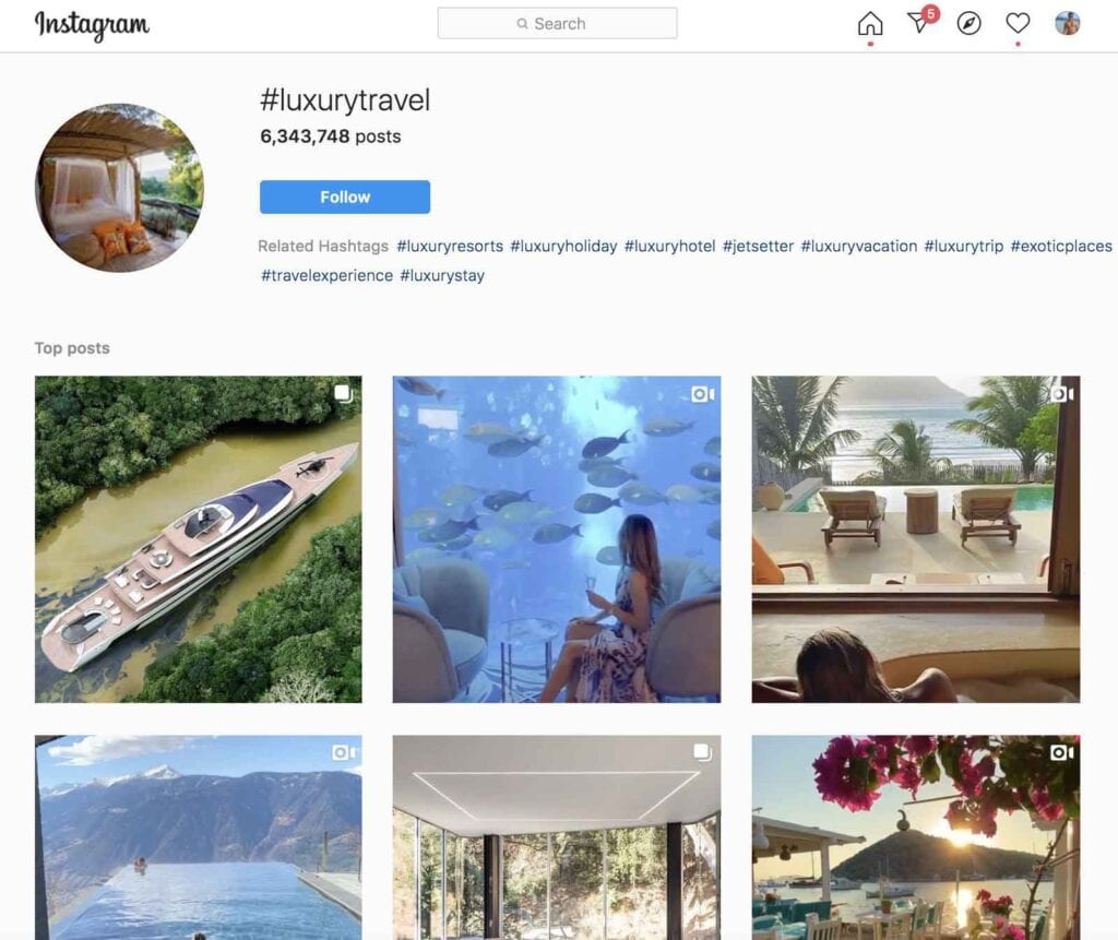 Luxury Travel hashtag on Instagram