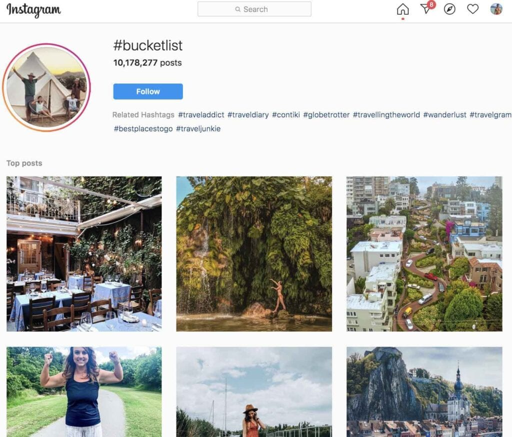 bucket list travel hashtag on Instagram