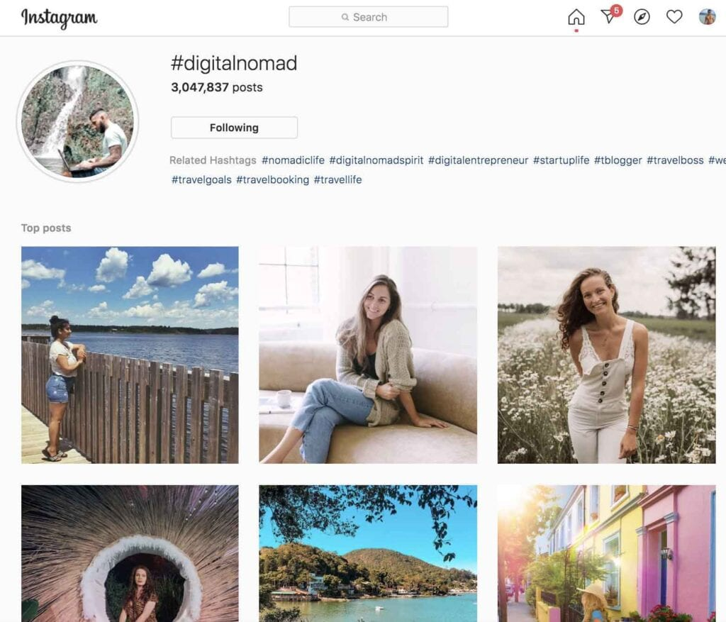 Digital nomad Instagram travel hashtags