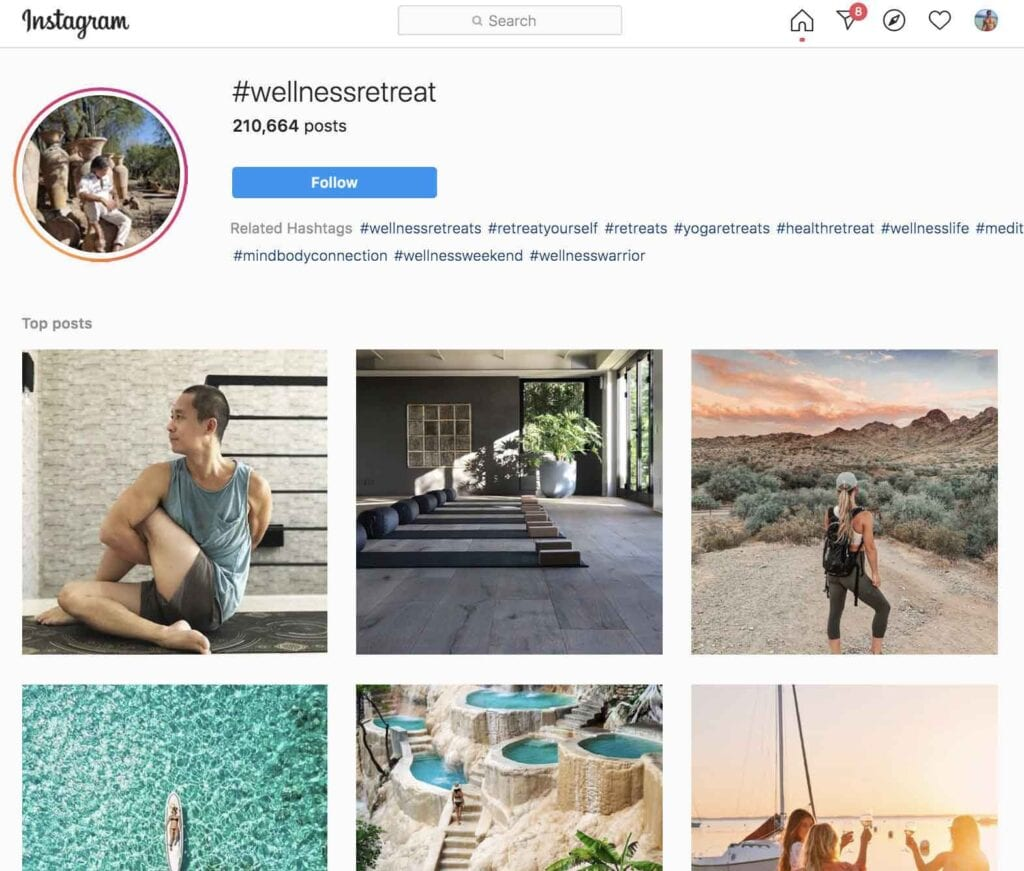 travel hashtag wellness retreat on Instagram
